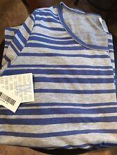 LuLaRoe XL Purple/Blue And Gray Striped Lynnae Shirt