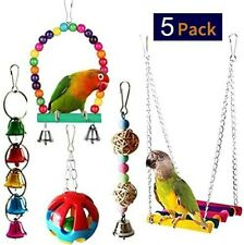 New listing 5pcs Bird Parrot Toys-Hanging Bell Pet Bird Cage Hammock Swing Toy Hanging Toy