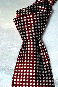 $195NWT Ermenegildo ZEGNA Burgundy White woven SPOTS men's Italian silk neck tie