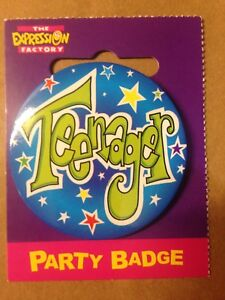 Birthday Celebration Party Badge Teenager green blue badge