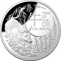 Silbermünze Lunar III gewölbte Prägung Ochse YEAR OF THE OX 1 OZ SILVER 2020 PP