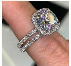 Certified 3CT Moissanite Bridal Set Wedding Engagement Ring Solid 14K White Gold