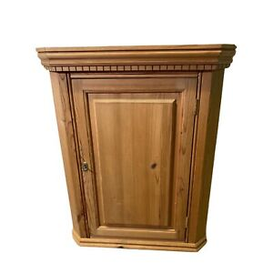 Pine Wall Hanging Corner Cupboard With Lock And Key