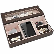Personalized Custom Engraved Valet Box - Mens Dresser Organizer Brown