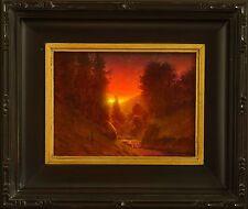original oil painting landscape signed on canvas vintage antique style 0179 COLE