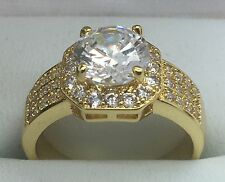 18K Gold Plated C.Z Ring. Size P 1/2 (56 3/4)