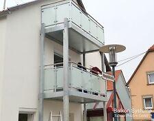 3 m x 2,50 m Balkon Fertigbalkon Anbaubalkon Stahl verzinkt Glas VSG