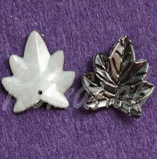 20 CHARMS foglie in acrilico nere CIONDOLI PENDENTI charm plastica natura
