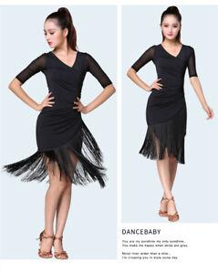 Latin Dance Dress Salsa V-neck Tango Ballroom Costume Tassel Rumba Fashion Women