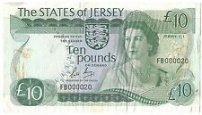Jersey UK Banknote 10 Pounds 1976 1988 P13 B Rare Queen Facebook FB Low Serial
