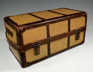 Vintage Trunk Miniature Art Deco Luggage Leather Toiletry Case c.1930