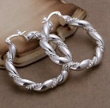 "Twist Rope Round Hoop Earrings Unique Women's 925 Sterling Silver 1.75"""