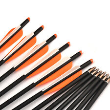 "6pcs Mixed Carbon Arrow 20"" Spine 300 Changeable Arrowheads for Archery Hunting"