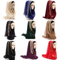 Fashion Head Wraps Golden Lace Pearls Muslim Hijab Shawls Headscarf Long Scarf