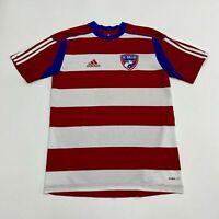 Adidas Clima FC Dallas Jersey Mens XS Red Blue White Crew Neck Striped Soccer