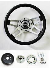 "64 65 Chevelle El Camino Grant Black 4 Spoke Steering Wheel 13 1/2"" SS Cap"