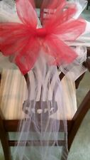 Sale $30 12pc White And Red WEDDING  Tulle Pew Bows OR ANY COLOR  RUSH ORDERS
