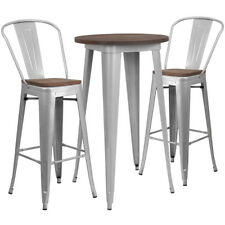 """24"""" Silver Metal Bar Height Restaurant Table Set Walnut Wood Top and 2 Barstools"""