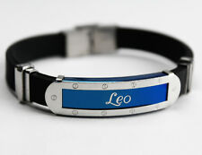 LEO - Mens Silicone & Blue Name Plate Engraved Bracelet - Jewellery Gifts