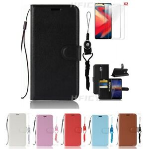 5 in 1 Magnetic Leather wallet Flip Phone Case with 2 Tempered film & Lanyards 3