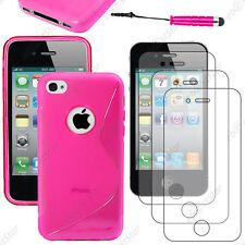 Coque SiliconeS-line Rose Apple iPhone 4S 4+Mini Stylet+3 Film écran