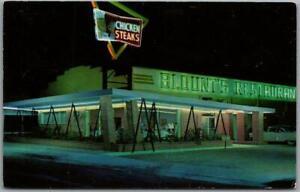 CARLSBAD, New Mexico Postcard BLOUNT'S RESTAURANT Night Scene c1950s Chrome
