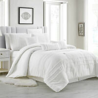 Chezmoi Collection Elizabeth 7-Piece White Tassel Fringe Comforter Bedding Set