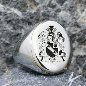 Men Family Crest Anniversary Ring Custom Made Wax Seal Signet Silver Father Band