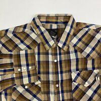 High Noon Pearl Snap Shirt Men's Size L Long Sleeve Brown Blue White Plaid