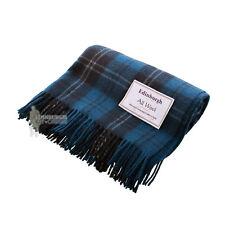 EDINBURGH - PURE WOOL SCOTTISH TARTAN RUG / BLANKET / THROW - RAMSAY BLUE