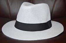 Men's Cuban Style Fedora Trilby Hat Panama Wide Brim Cap Sunhat White