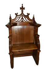 Antique French Gothic Throne, Bishop or Altar Chair, Walnut, 19th Century