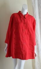 NEW Maggie Barnes -Sz 3X Rich Red Pleated Art-to-Wear 3/4 Blouse Shirt Top