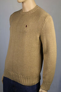 Polo Ralph Lauren Large L Tan Crewneck Sweater Burgundy Pony NWT