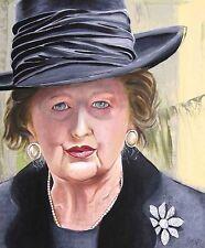 "SUPERBA ORIGINALE MARTIN DAVIS ""Margaret Thatcher"" olio su legno dipinto"