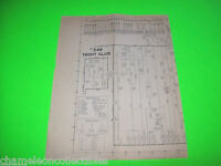 YACHT CLUB BALLY 1953 ORIGINAL BINGO PINBALL MACHINE SCHEMATIC WIRING DIAGRAM
