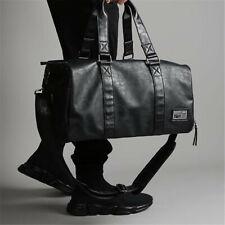 Large Men's Black Leather  Duffle Travel School Gym Weekend Overnight Bag