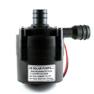 12V DC Brushless Circulating Pump - 5.28 GPM / 20 LPM - Can be used Submersible