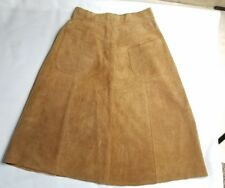 Opera women's skirt size 11 12 tan brown suede a line back pockets
