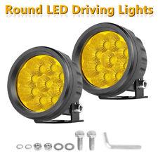 "2x 3.5"" 3000K Fog Round LED Driving Lights Bar Spot Flood Amber Pods OffRoad 4WD"