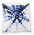 "26"" Indian Home Pillow Cover Tie Dye Shibori Indigo Blue Cushion Cover Throw Art"