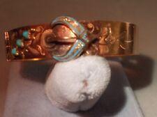 14K Gold Victorian CHILD bracelet bangle 5.4 grams turquoise beads enamel estate