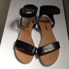 🍀Lds / Girls Sz 6 Black Open Toe Gladiator Sandals W Ankle Strap New