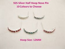 925 Sterling Silver Half Hoop Nose Stud with 7 or 8 Crystals - 10mm - 12mm Wide