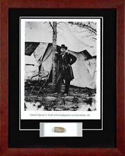 Civil War General Ulysses S. Grant Framed Photo & Antique Battlefield Bullet Coa