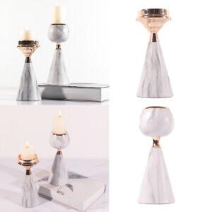 Pillar Candle Holder Stick Metal Iron Marbling Candlestick Table Decor