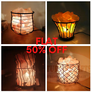 HIMALAYAN SALT LAMPS | MIX SHAPE|  SALT CHUNKS IN IRON BASKET WITH CABLE&BULB