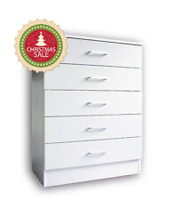 Free assembly Redfern 5 Drawers Tallboy/Chest/Dressers in White