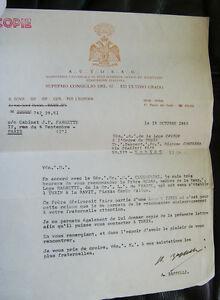 LETTRE DE RECOMMANDATION LOGE CAVOUR DE TURIN R∴E∴A∴A∴ ITALIE 1968