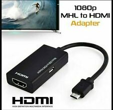 MHL Micro USB to HDMI Cable TV Out Lead 1080p for Samsung, Sony, HTC & NOKIA .